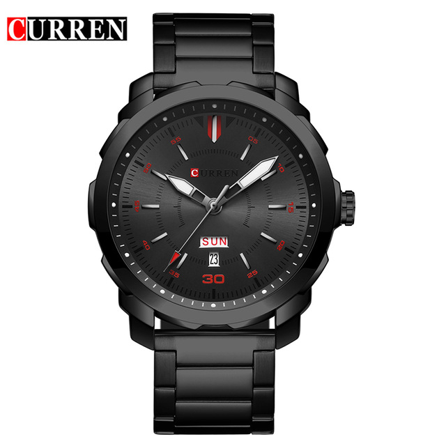 2018 Curren Watches Metal Alloy Black Casual Watches With Date And Calendar Luxury Brand relogio masculino