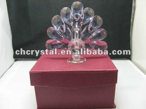 crystal Peacock figurines,purple color crystal peacock figurine, wedding peacock favors MH-D0283