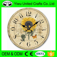 New Home Decor 16 in. Square MDF Wall Clock in Distressed Black Wooden Frame