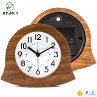 2017 New style real pine wood carving bamboo oak wooden timer table clock home decor engrave design logo table clock wood alarm