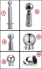 Sanitary Stainless Steel Rotating CIP Spray Ball Tri Clover Inlet welded in Tri Clamp