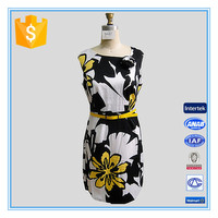 Sleeveless Floral Printed Polyester Spandex Designer One Piece Dress For Lady