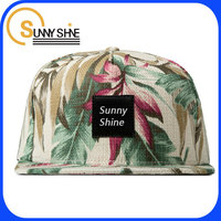 oem high quality custom hawaii style flower 5 panel snapback cap hip hop