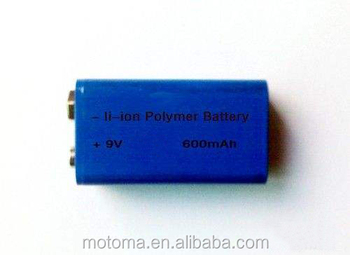 rechargeable 9V 650mAh Industry Lithium Battery replacement battery for 6f22