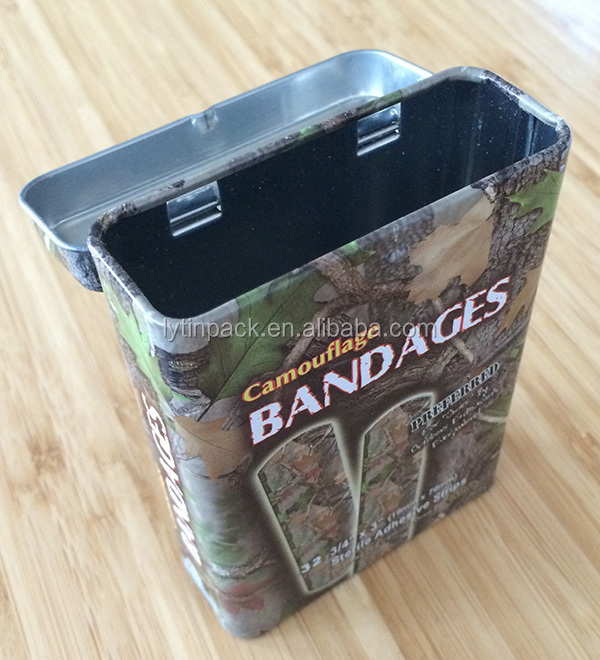 band aid tin box with hinged lid
