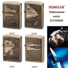 XY392040 oil kerosene flint jet flame Animal theme embossment lighter