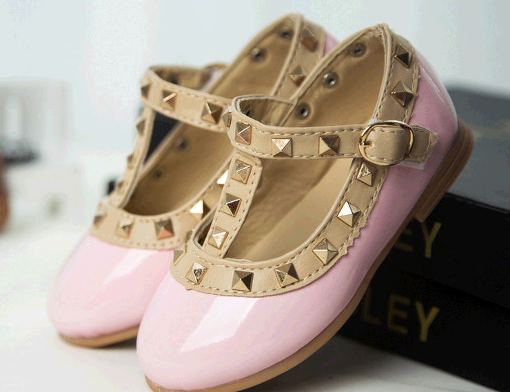 d10200b leather sole dance shoes girls rivet dancing princess shoes fashion single shoes