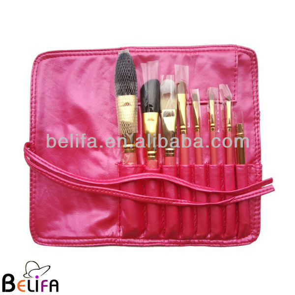 Pro Makeup Brush Set 8 pcs Kit w/ Leather Cup Holder Case Cosmetic Make up Tool