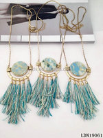 Decorative pattern Stone Pendant Light Blue Tassel Long Spring Necklaces