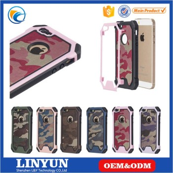 New Hot Selling High Quality 2 in 1 Camouflage PC+Silicone Back Case Cover for iPhone SE