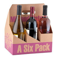 Logo printed corrugated paper wine bottle carrier packaging box