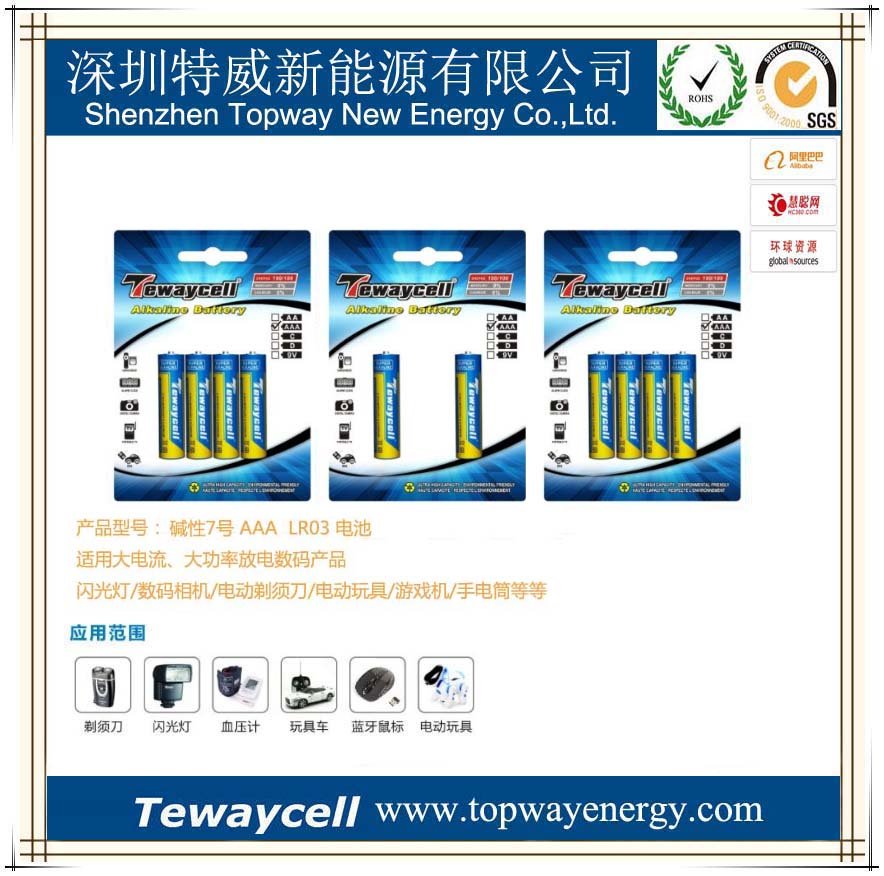 tewaycell LONG LASTING ,ENVIROMENTAL PROTECTION, STEEL RESISITANCE LR03,AAA,AM4 DRY BATTERY