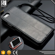 High-Grade Business Phone case Black wallet leather flip case for huawei ascend g7 shot x