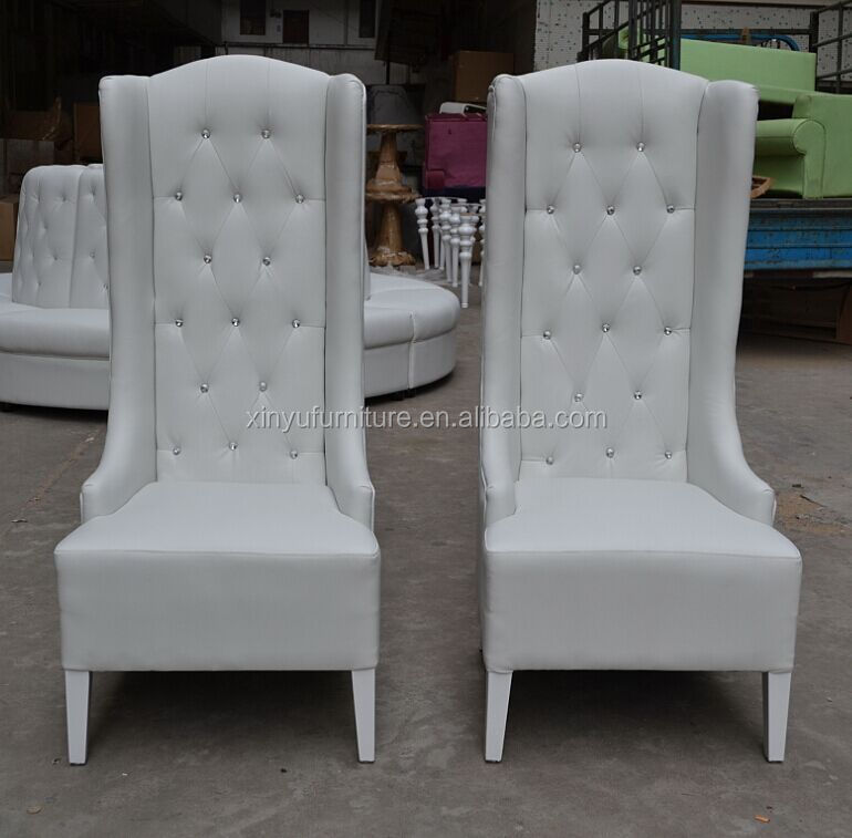 High Back White Leather Sofa: Wedding Round Hotel Sofa With Crystal Button