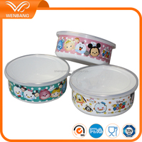 Japanese cute design printing enamel salad fruit bowl with pp lid