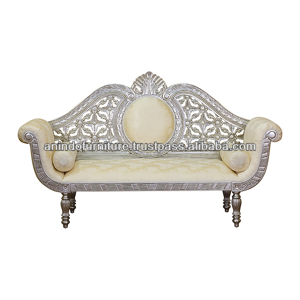Silver Painted Heavy Carved Flower Bridal Sofa