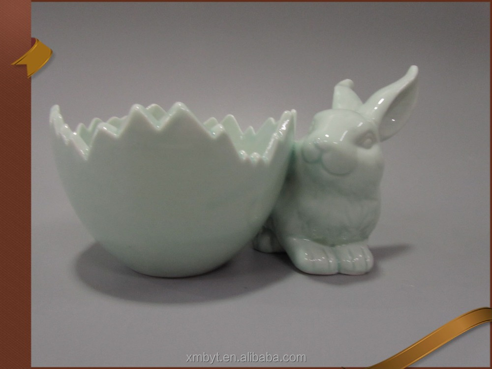 Ceramic easter bunny egg 2 porcelain rabbit decor