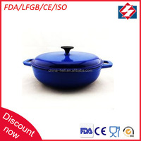 Round low european porcelain coated cast iron cookware