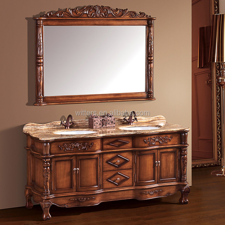 WTS-260SYO Traditional Home Styles bath furniture Bathroom Vanity with double Sinks and Marble Top