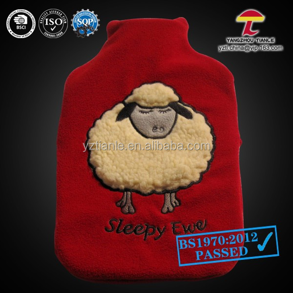 red sleeping sheep 2000ml hot water bag with fleece cover