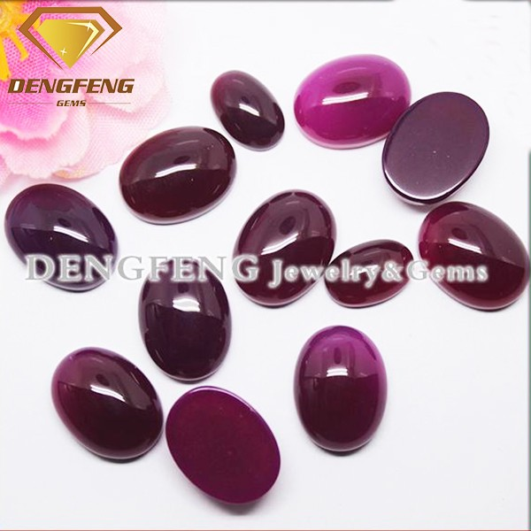 Oval Shape Flat Bottom Purple Red Natural Agate Stone