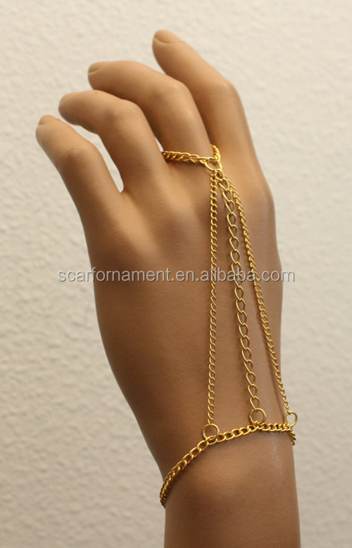 New Simple Style Alloy Jewelry Belly Dance Hand Ring Chain In Gold Bracelet Chain Ring For Indian Saree Decoration