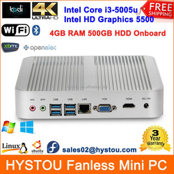 Intel Core i3 5005u HD5500 Windows/Linux All-in-one Computers Fanless Box PC x86 Rugged Mini ITX Case 4G RAM 500G HDD HTPC HDMI