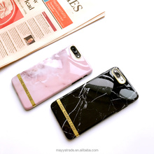 Flexible Case Marble Print Snap On Crystal Pink Gold Marble Flexible TPU IMD Case for iPhone 7 7Plus
