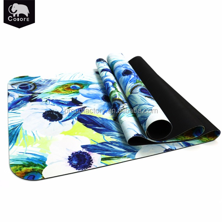 Fitness equipment suppliers printed nature rubber aerobic sport mats for gym muscle fitness pilates workouts