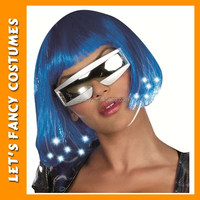 PGWG1731 Light Up Blue Bob Wigs With Glasses Synthetic Long Bob Halloween Party Wig