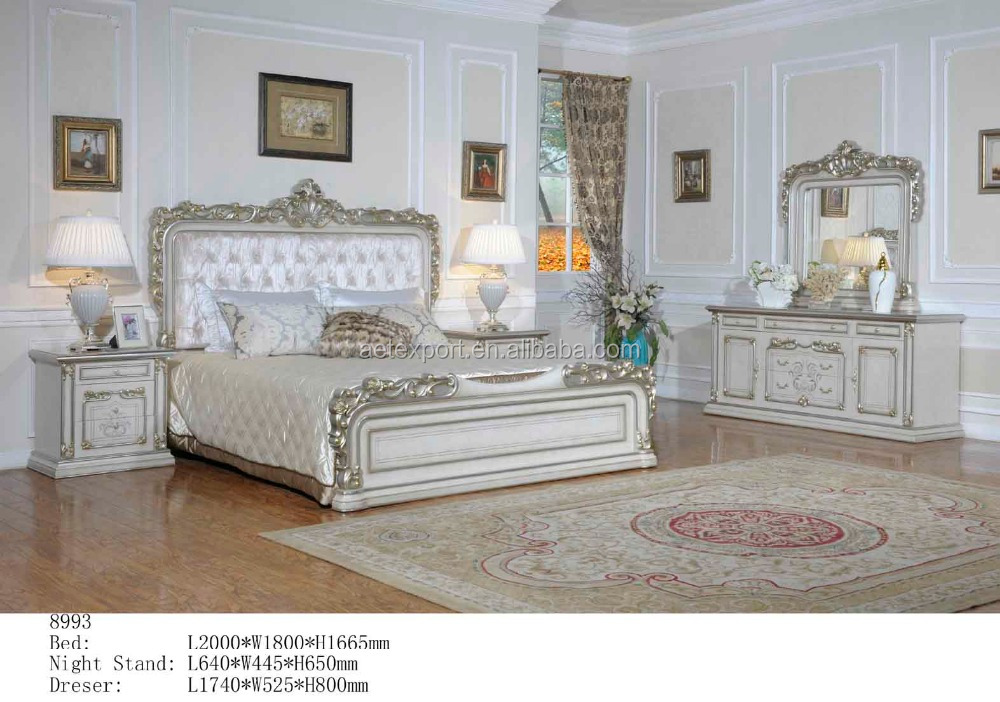 Elegant white wedding bedroom furniture by foshan aet 8993 for Elegant white bedroom furniture
