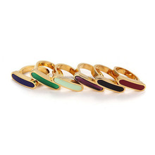New design stainless steel quality D shape colorful women enamel rings wholesale