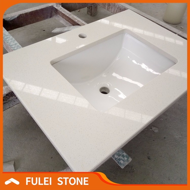 Commercial hotel supply bathroom sink crystal white quartz countertop