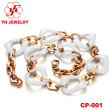 Fashion Gold Plated Stainless Steel with White Ceramic necklace