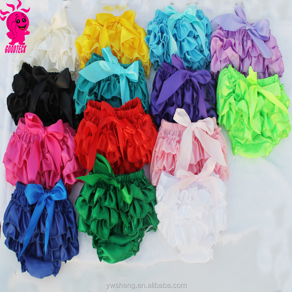 Ruffle Satin Baby Bloomers Layers Baby Diaper Cover Newborn bow Shorts Skirts Toddler Cute Summer Satin Underwear