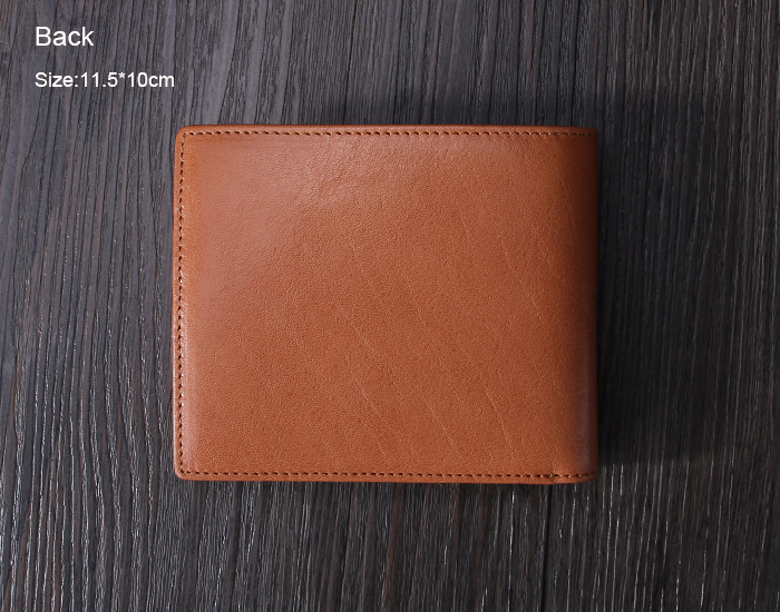 Handmade Italian leather RFID Blocking wallet classical bi-fold tan leather card holder wallet