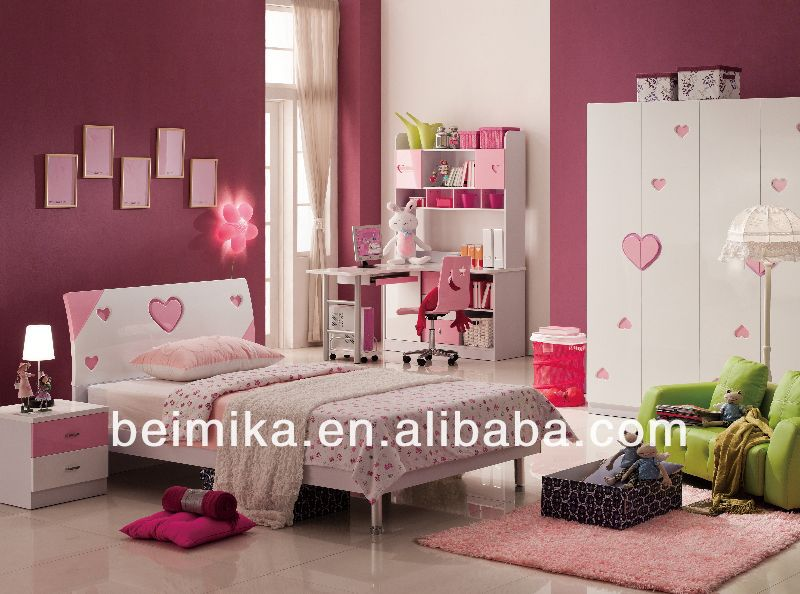 kids bedroom furniture set cheap Girls Bed/Bedroom Set of Glossy Style/kaplan child care furniture 853#