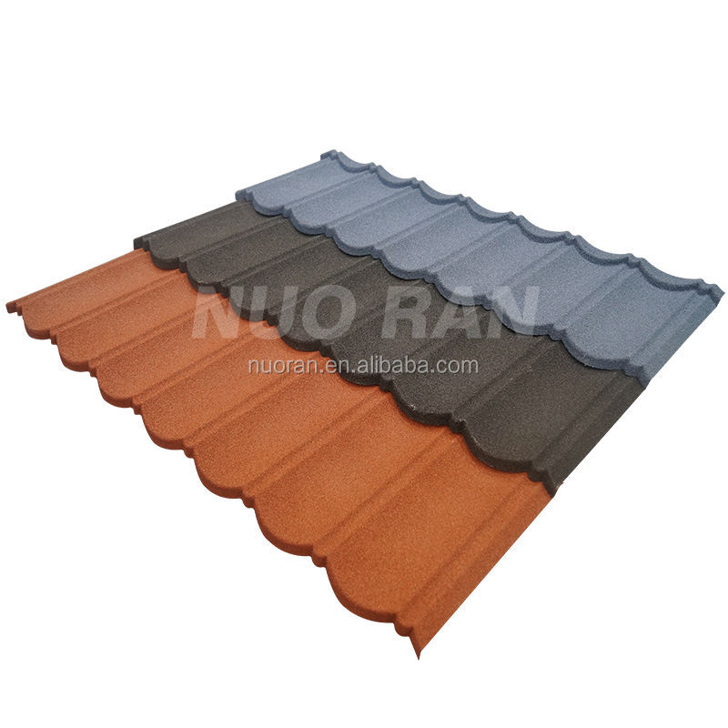 NUORAN soft deco stone chip coated metal resin purple color roof tile