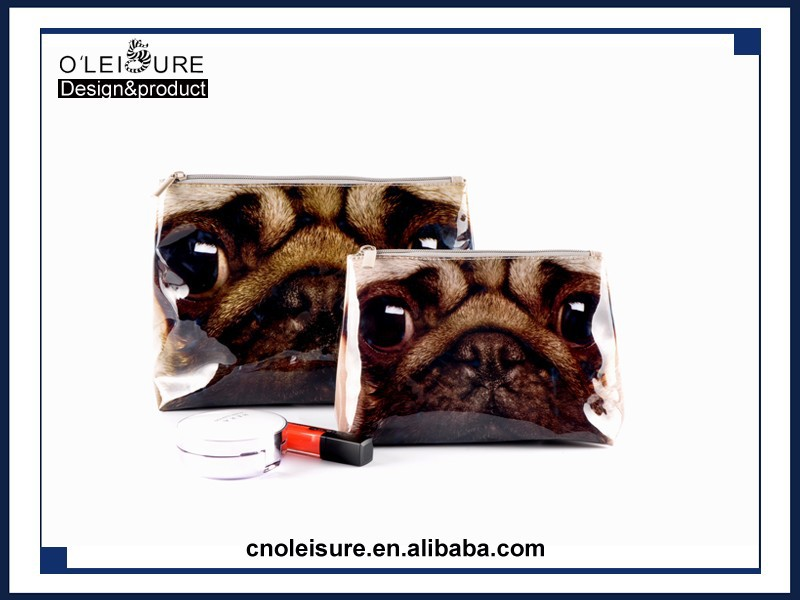 2015 new cheap make up women bags makeup case with printing animal PVC cosmetic bag