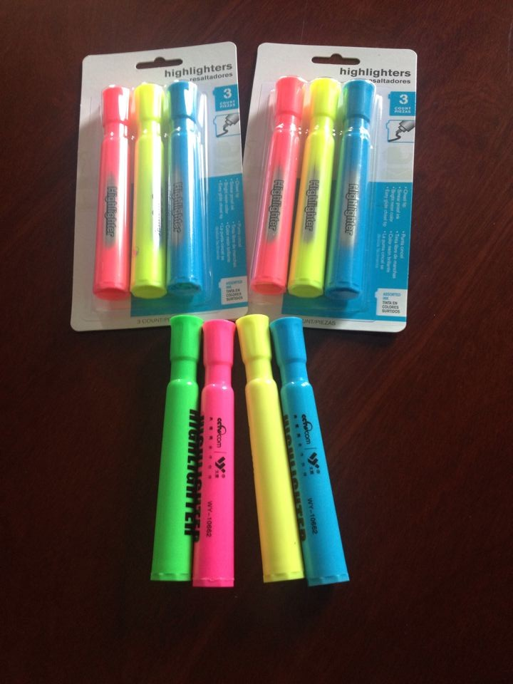 2017 wal-mart New design highlighter marker pens