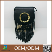 Cheap customized size handbag bags PU leather shoulder bag with tassels wholesale
