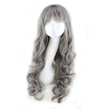 26'' Fashion Women Girls Milk Grey Long Curly Soft Wave Cosplay Wig with Wig Cap