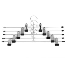 Inspring Metal Slacks Pants and Skirt Hanger chrome with Non-slip Adjustable Clips 12-Pack