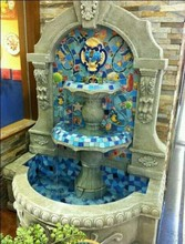Ceramics Mosaic Fountain, Sea Shell Pattern Fountain, Three Layer Half Round Fountain for Decoration (BF01-P1013)