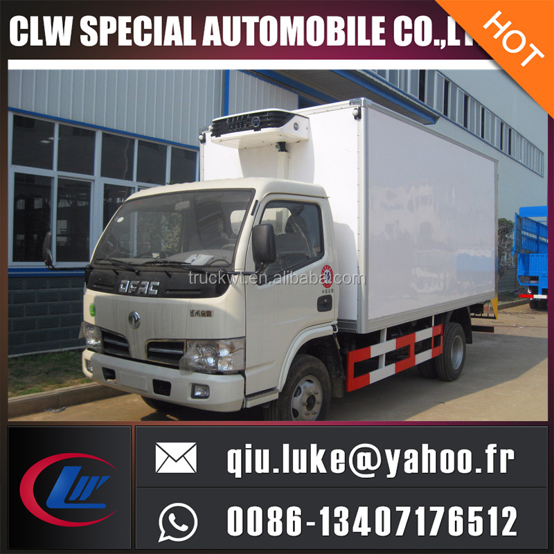 1-8 tons loading capacity seafood transport refrigerated van with INOX inside