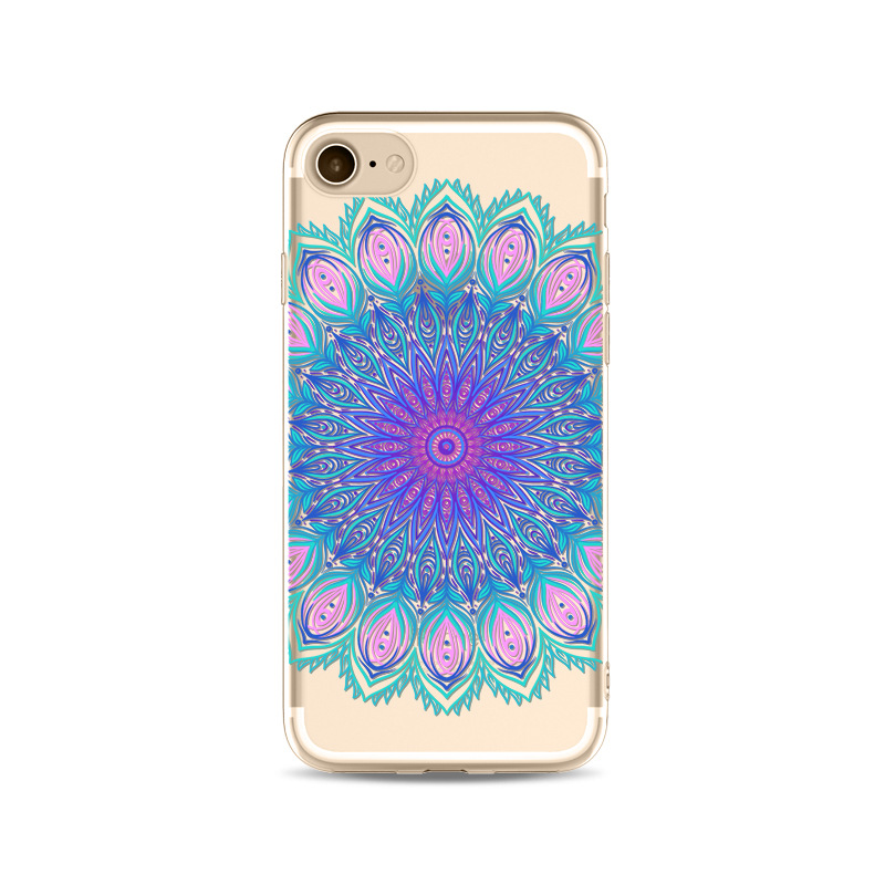 Customized TPU Gel Flower Paisley Pattern Clear Phone Case For iPhone 6 7 8