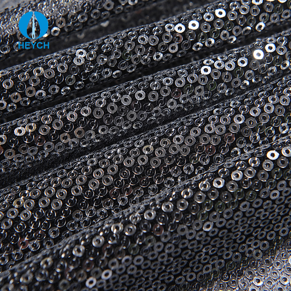 Guangzhou Market Shiny Silver Color Straight Lines Mesh Embroidered Sequin Fabric