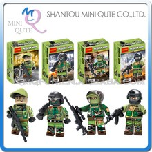 Mini Qute DECOOL 4pcs/set Military army Special Forces Swat building block action figure educational toy NO.0304-307