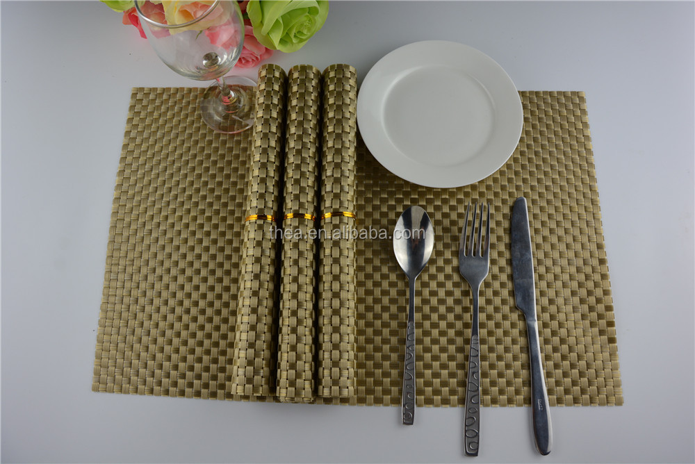 High quality 45*30cm PVC braided placemat pure color8*8 gold color placemat 110g table decoration