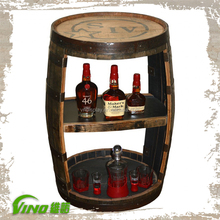Shabby Chic Portable Wooden Wine Storage Rack,Vintage Handmade Bottle Barrel Stand Holder,Rustic Custom Display Case